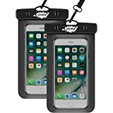 [** 2-PACK **] !! SPLASH Universal Waterproof Phone Pouch, Mobile Phone Dry Bag Waterproof Case for iPhone 8/7/7Plus/6S/6/6SPlus/SE/5S, Samsung Galaxy S8/S8 Plus/Note 8/6/5/4, Google Pixel 2 HTC LG Sony MOTO up to 17cm I Black with Clear Window front and back I Lanyard Provided for Mobile Phone Waterproof Bag