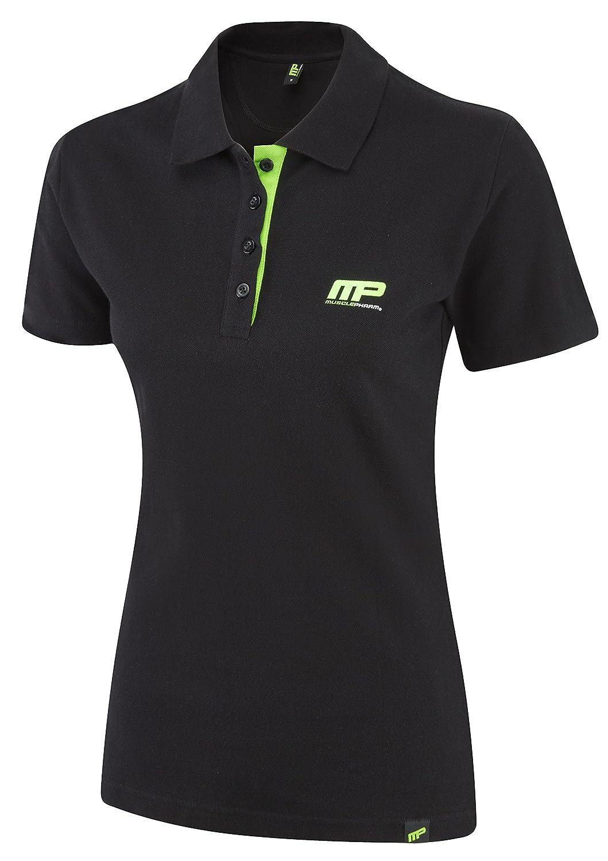 Musclepharm Women's Polo Shirt - Black/Lime Green, Small