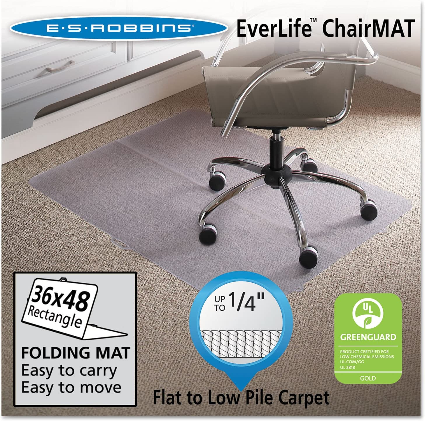 ES Robbins Foldable Rectangle Chair Mat, 36 x 48 ESR120082