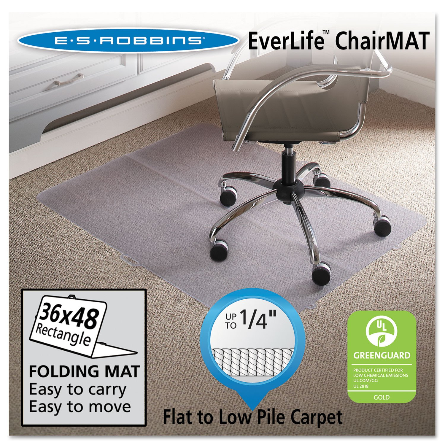 "Amazon ES Robbins Foldable Rectangle Chair Mat 36"" x 48"