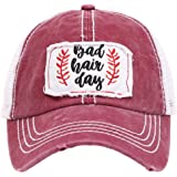 MIRMARU Women's Baseball Caps Distressed Vintage Patch Washed Cotton Low Profile Embroidered Mesh Snapback Trucker Hat