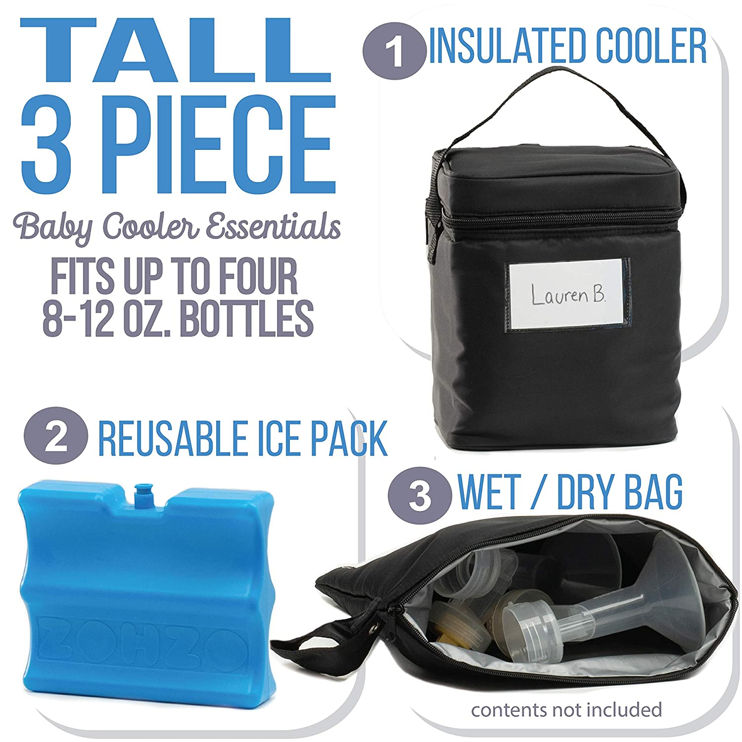 Zohzo Breastmilk Cooler Bag with Ice Pack Insulated Breast Milk Cooler with Accompanying Wet//Dry Bag Black