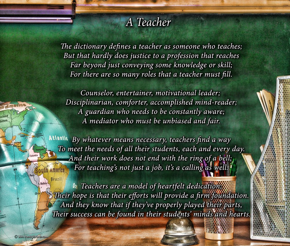 A Teacher - Poem Print (8x10) - Beautiful Teacher Gift for Any Occasion