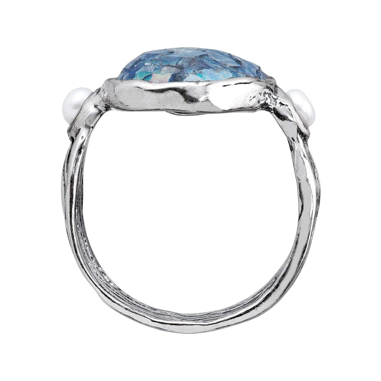 Silpada Regium Lepidi Roman Glass 3-3.5 mm Freshwater Cultured Pearl Ring in Sterling Silver