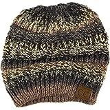 CC Ponytail Messy Bun BeanieTail Soft Winter Knit Stretchy Beanie Hat Cap