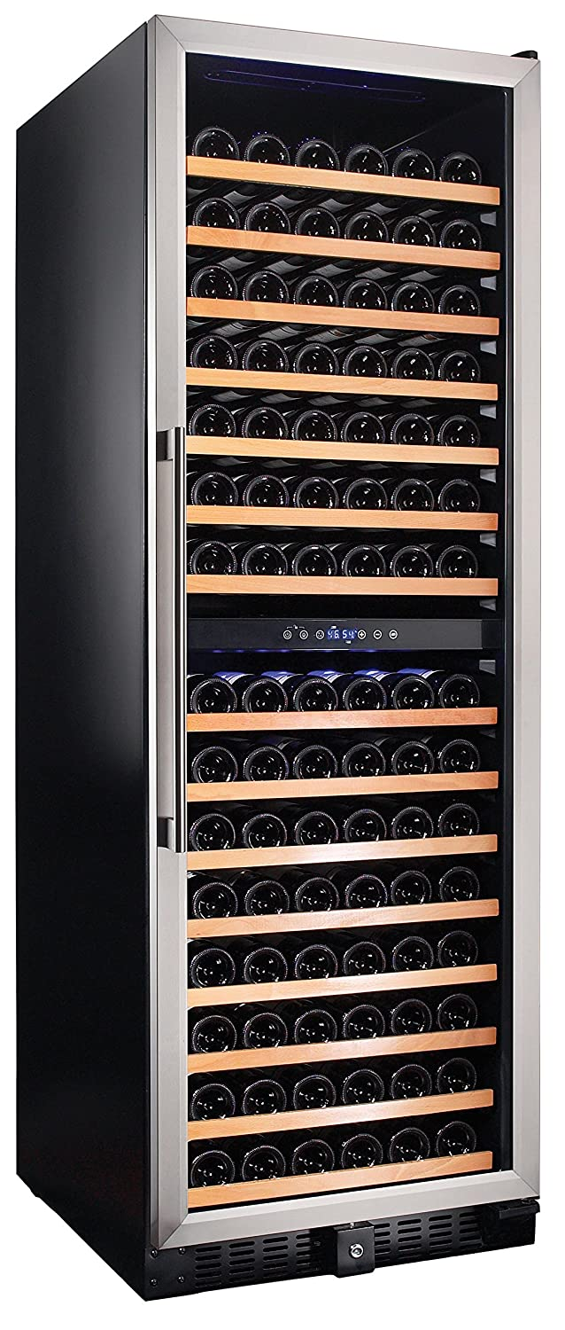 Smith & Hanks RW428DR 166 Bottle Dual Zone Wine Refrigerator, 24 Inch Width, Built-In or Free Standing