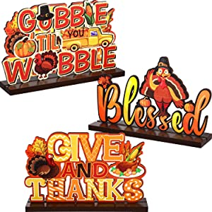 Happy Thanksgiving Sign Thanksgiving Decorations for Table Thanksgiving Table Centerpieces Turkey Decors Pumpkin Signs for Harvest Give and Thanks Wooden Happy Fall Maple, 7.87 x 4.72 Inch