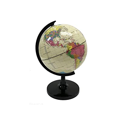 World Globe Great for Kids and Adults with Stand Desk 8 Inch Globe 12 Inch Educational Deluxe Blue Ocean Black Base Full Earth Geography … (White Ocean, 8 Inch Diameter): Office Products