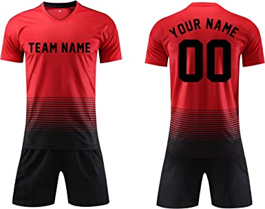 Personalised kids football style name and no number shorts and t-shirt set