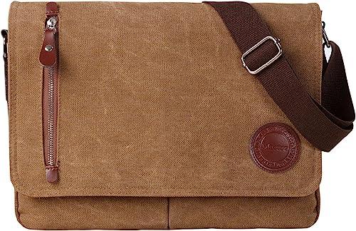 Vintage Canvas Satchel Messenger Bag for Men Women,Travel Shoulder bag 13.5 Laptop Bags Bookbag Coffee