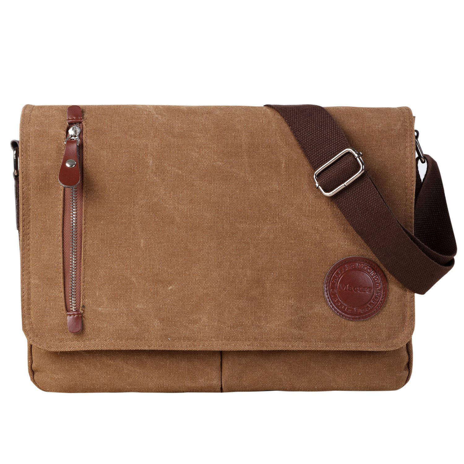 "Vintage Canvas Satchel Messenger Bag for Men Women,Travel Shoulder Bag 13.5"" Laptop Bags Bookbag (Coffee)"