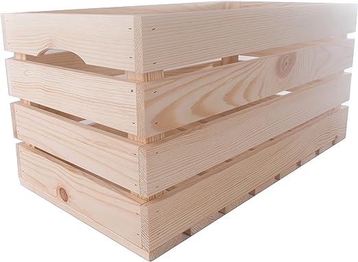 SEARCHBOX Extra Grande Caja de Almacenamiento de Comida/sin Pintar en Cajas de Madera de Pino Apple sólido/: Amazon.es: Hogar