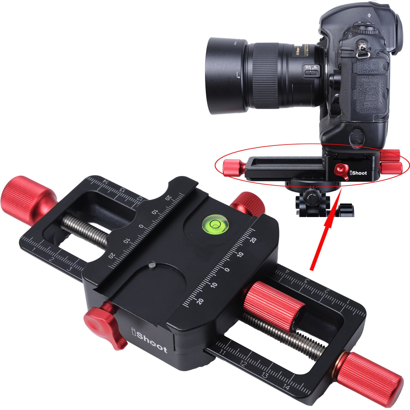iShoot Universal All Metal 150mm Macro Focusing Rail Slider Close-up Shooting Head Camera Support Bracket Holder With Arca-Swiss Fit Clamp and Quick Release Plate in Bottom for Tripod Ballhead by photoloving