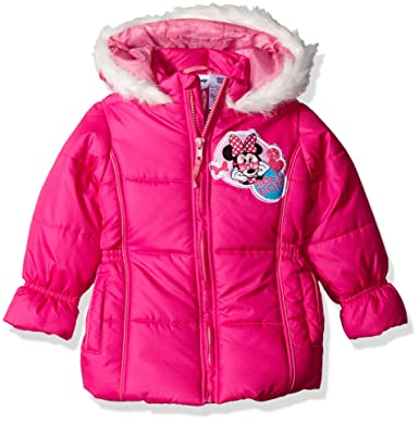 e741d6ab9160 Amazon.com  Disney Girls  Minnie Mouse Puffer Coat  Clothing
