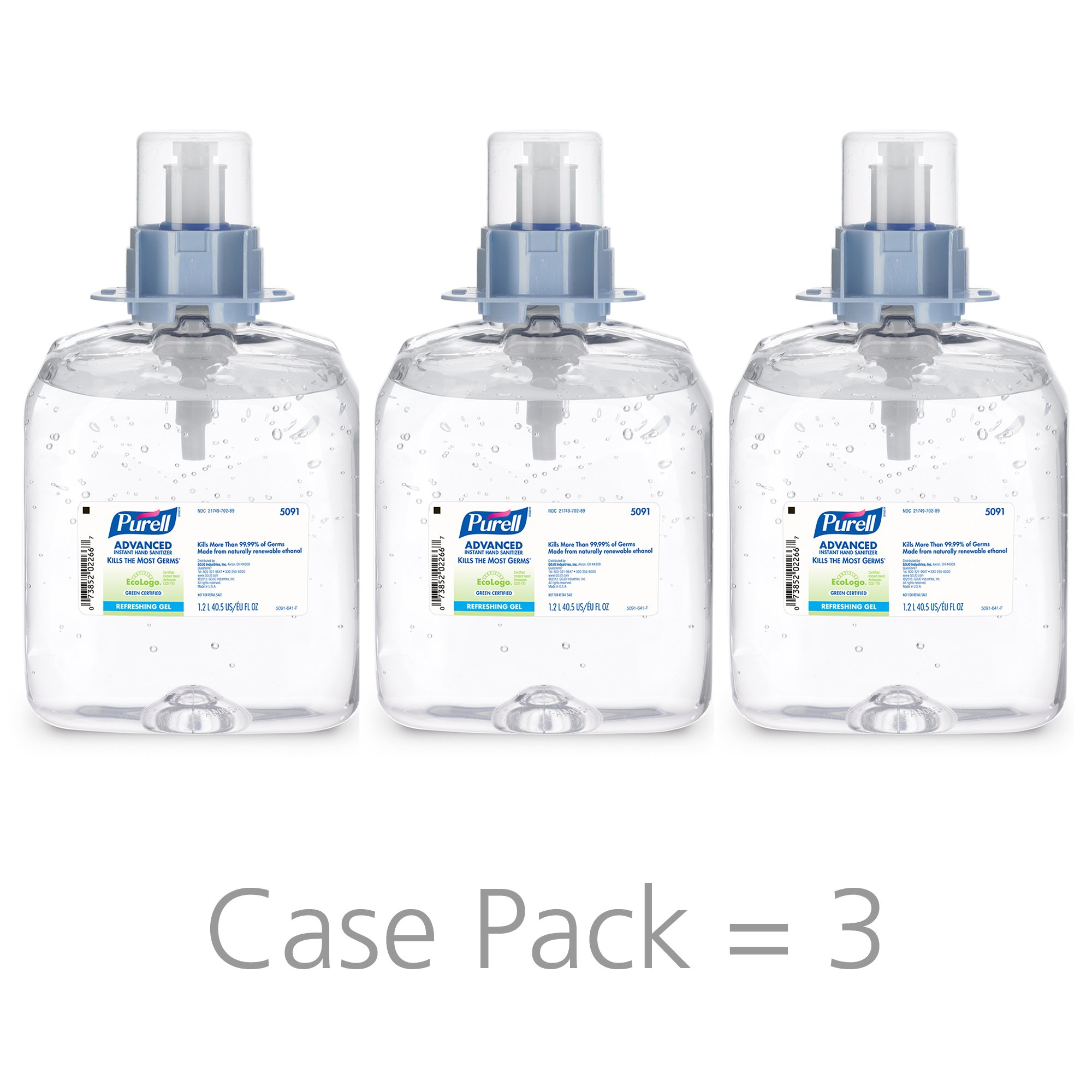 PURELL FMX-12 Advanced Green Certified Hand Sanitizer Gel, Fragrance Free, 1200 mL Sanitizer Refills for PURELL FMX-12 Push-Style Dispenser (Case of 3) - 5091-03