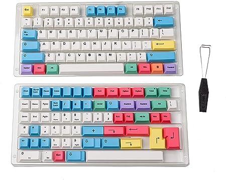 HK Gaming Teclas de sublimación de tinte, perfil de cereza, conjuntos de teclas PBT gruesas para teclado mecánico (139 teclas, tiza)
