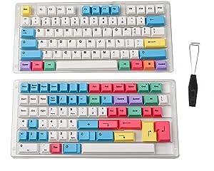 HK Gaming Dye Sublimation Keycaps - Cherry Profile - Thick PBT Keysets for Mechanical Keyboard (139 Keys, Chalk)