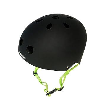 Puro Kawasaki Skateboarding Negro, Verde - Cascos de protección para Deportes (Mate)