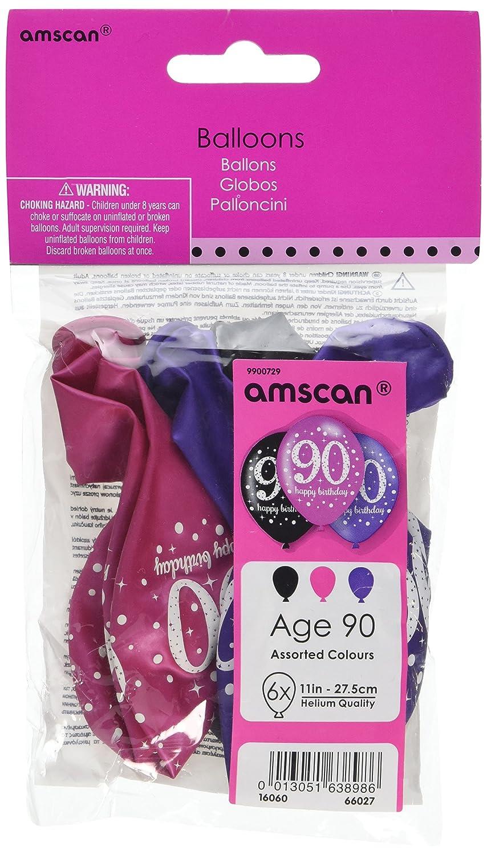Amscan 90th Birthdayバルーンブラックパープルピンク6個パック   B01FFW3GIA