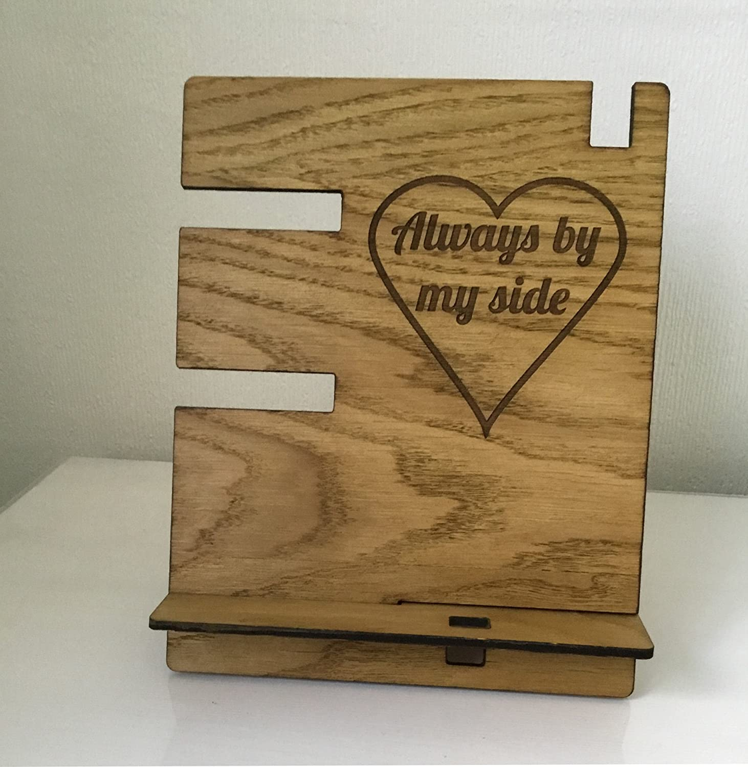 Personalised Wood Phone Stand.Personal Oak Bedside Table Tidy