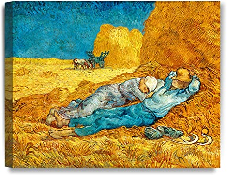 Fade Resistant HD Art Print or Canvas Noon Rest From Work Van Gogh 1890