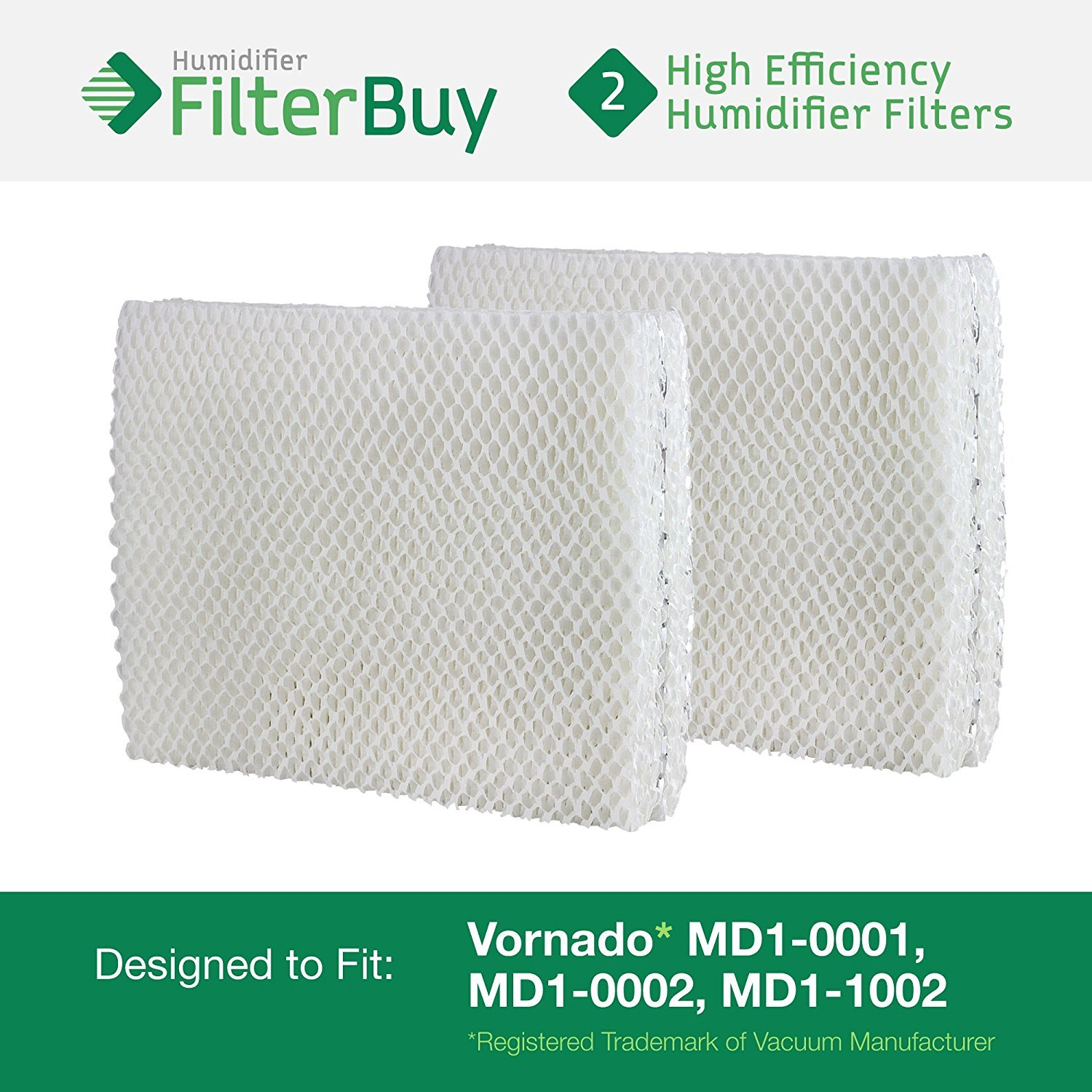 Vornado MD1-0001, MD1-0002, MD1-1002 Humidifier Wick Filter. Designed by FilterBuy to fit all Vornado Evaporative Humidifiers. Pack of 2 Filters. HF-VMD1pk2