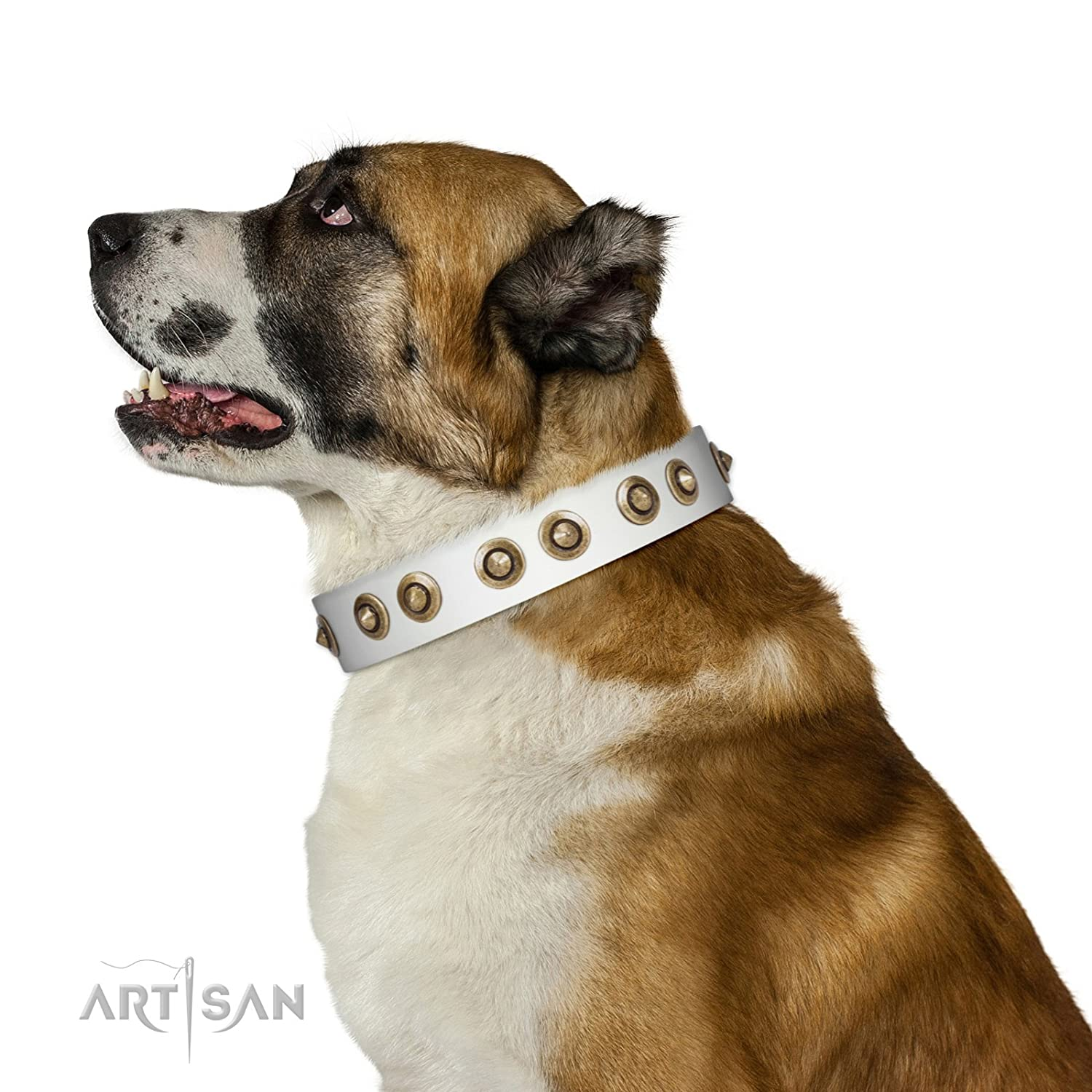 Fits for 36 inch (90cm) dog's neck size 36 inch White FDT Artisan Leather Dog Collar with Antique Decorations Moonlit Stroll 1 1 2 inch (40 cm) Wide Gift Box Included