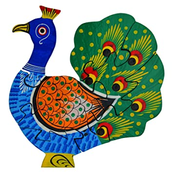 Wooden Multicolor Creative Educational Jigsaw Puzzles Peacock Shaped