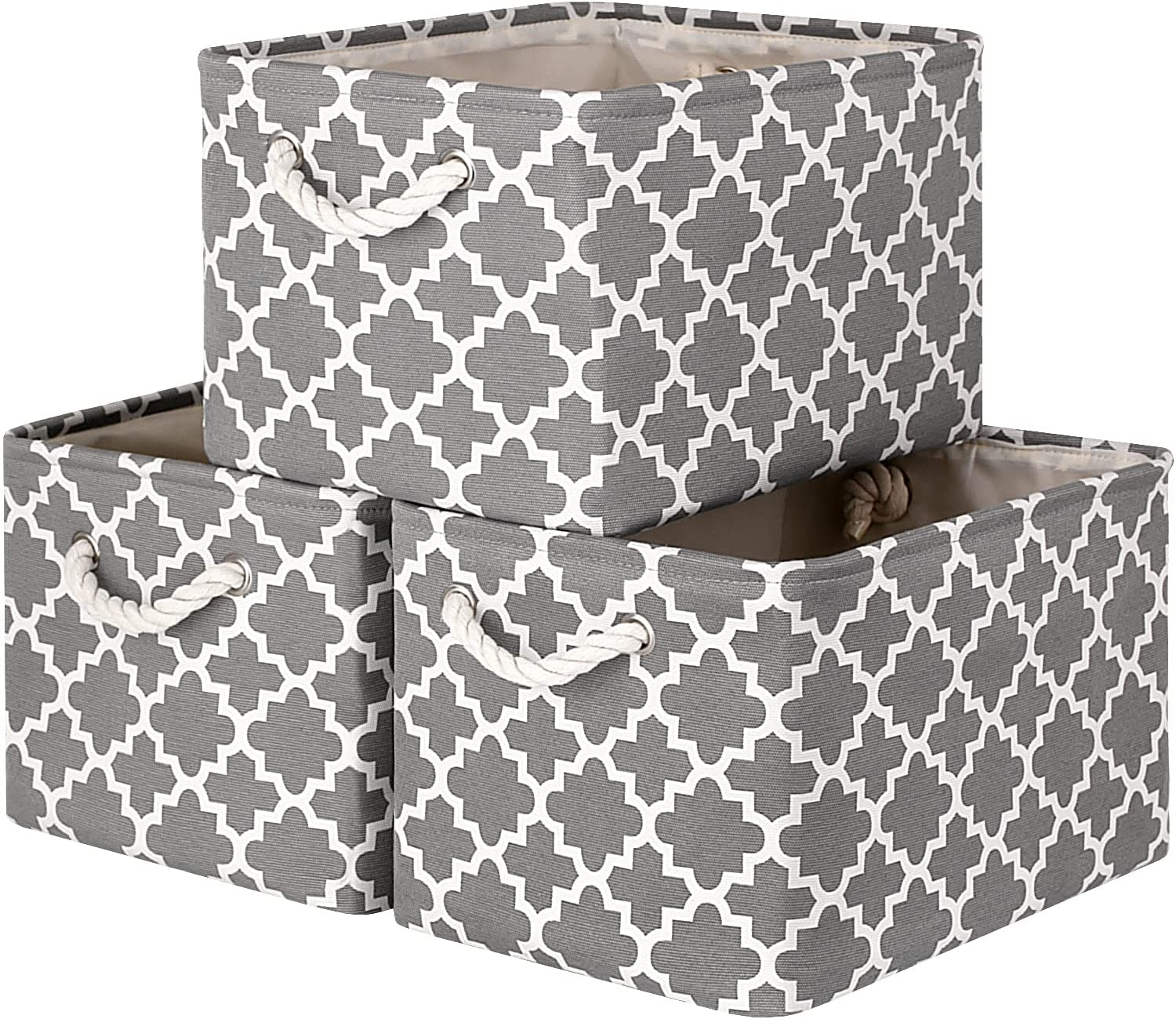 WISELIFE Storage Basket [3-Pack] Large Collapsible Storage Bins Boxes Cubes for Clothes Toys Books, Perfect Storage Organizer w/Handles (Grey,15