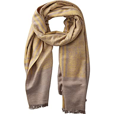 ae8f6f8d8 Tickled Pink Accessories Wool Temple Stripe Cozy Oversized Long Scarf for  All Seasons, Yellow and Beige, 71x25.5