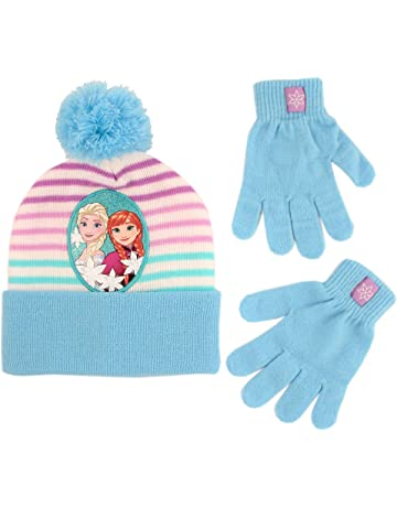 417e3b796d3 Disney Girls  Little Frozen Elsa and Anna Beanie Hat and Gloves Cold  Weather Set