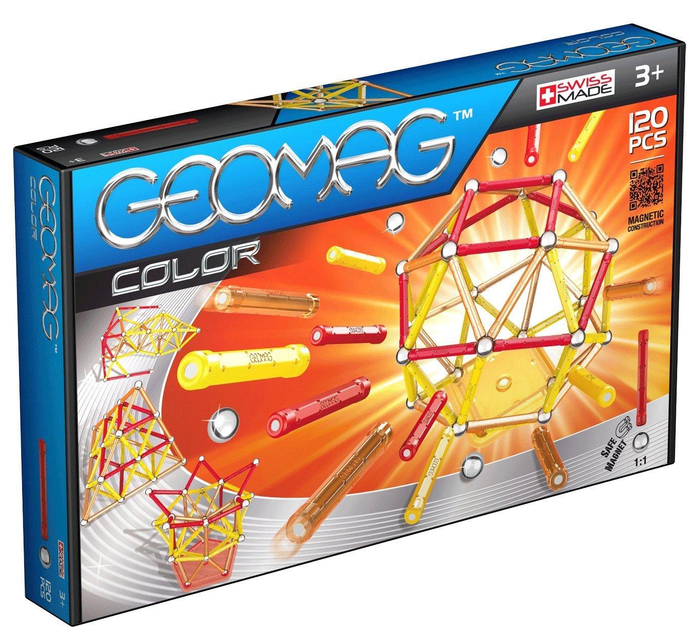 Geomag - Color 120 piezas, juego de construcción (255) barras magnéticas juego de piezas juego educativo