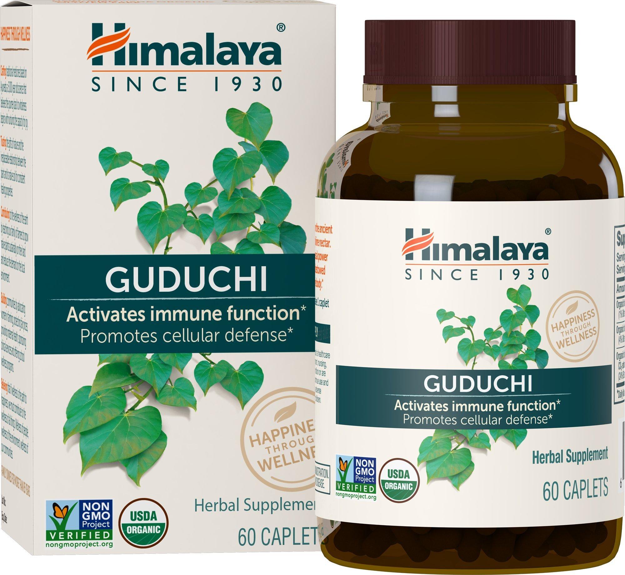 Himalaya Organic Guduchi 60 Caplets for Immune & Sinus Support 700mg, 1 Month Supply