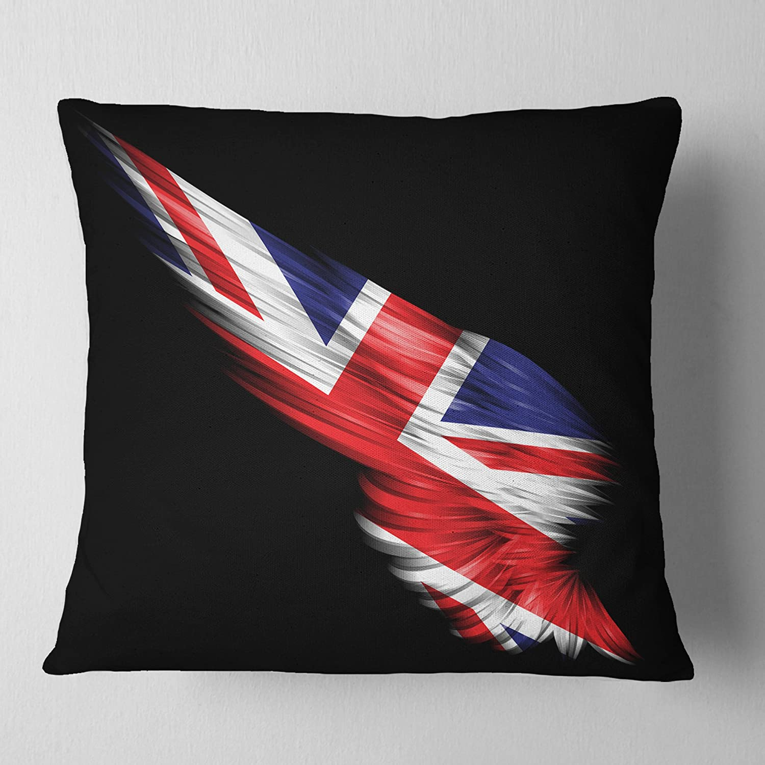 Designart CU8919-26-26 Wing with United Kingdom Flag Abstract Cushion Cover for Living Room 26 x 26 Sofa Throw Pillow