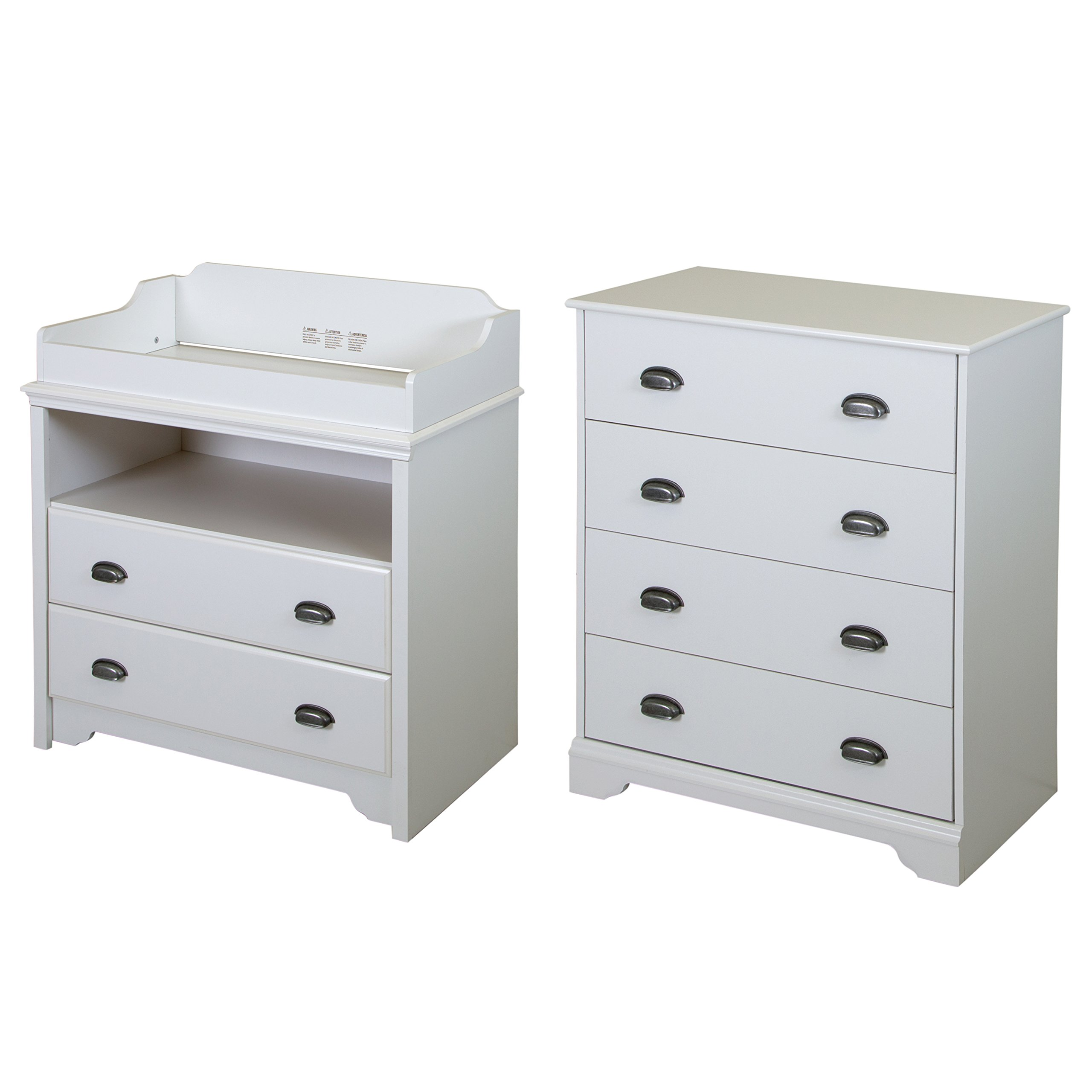 South Shore Fundy Tide Changing Table and 4-Drawer Chest, Pure White