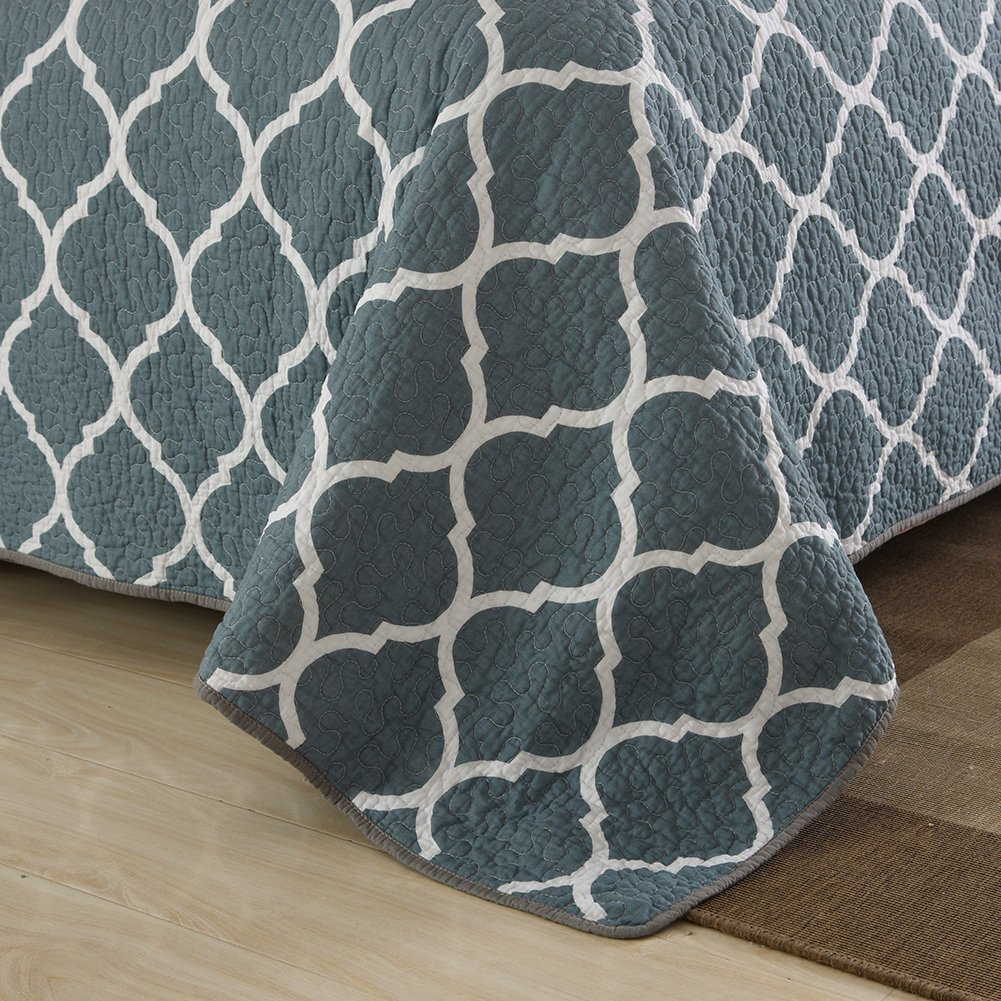 Gray Moroccan Style NEWLAKE Cotton Bedspread Quilt Sets-Reversible Patchwork Coverlet Set King Size