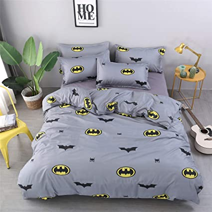 Cenarious Marvel Batman Grey Cartoon Style Duvet Cover Set Microfiber Polyester Flat Sheet Bed Cover 4pcs Bedding Set Queen Flat Sheet Set