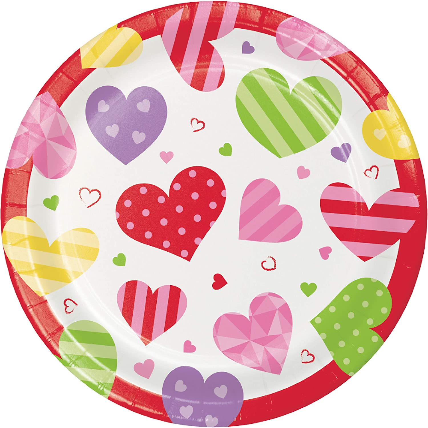 Bundle Includes Dessert Plates and Lunch Napkins Valentine Hearts Design Valentines Day Party Supply Pack for 16 People