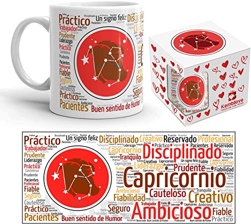 Kembilove Taza de Desayuno Horóscopo de Capricornio – Taza de café de Signo del Zodiaco Capricornio – Tazas de Café y Té Horóscopo Capricornio – Regalo Original para Parejas, Cumpleaños, Amigos: Amazon.es: Hogar