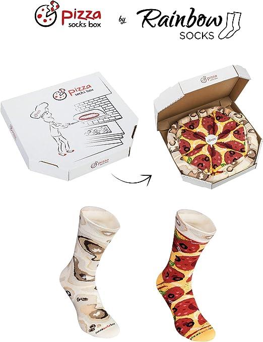 Rainbow Socks - Pizza Pepperoni Mujer Hombre - 4 pares de Calcetines: Amazon.es: Ropa y accesorios
