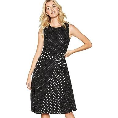Debenhams The Collection Womens Black Mixed Spot Print Chiffon Round Neck Midi Dress 14