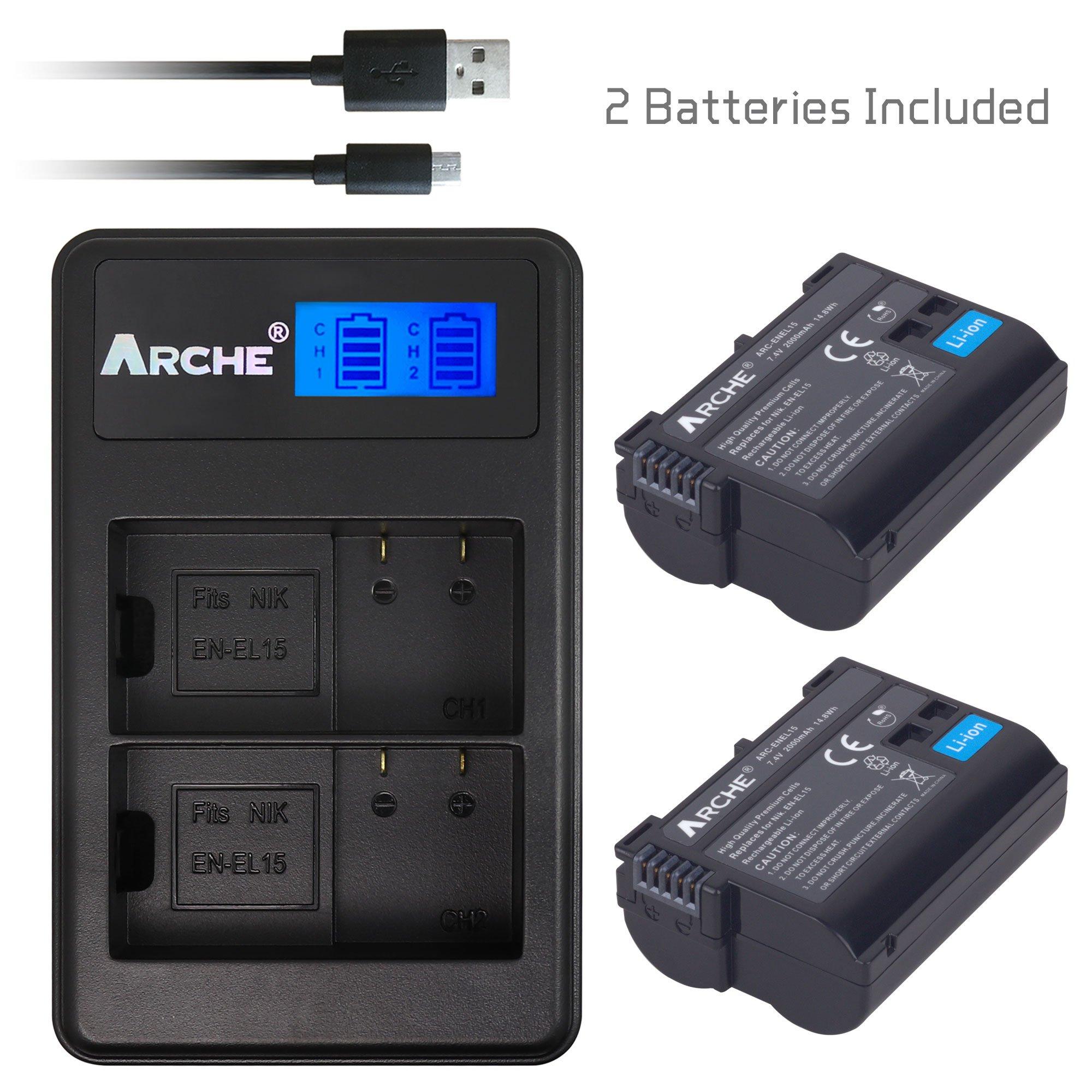 ARCHE EN-EL15 EN-EL15A <2 Pack> Battery and LCD Dual Charger Kit for [Nikon DSLR D500 D600 D610 D750 D800 D800E D810 D810A D850 D7000 D7100 D7200 D7500 Nikon 1V1]