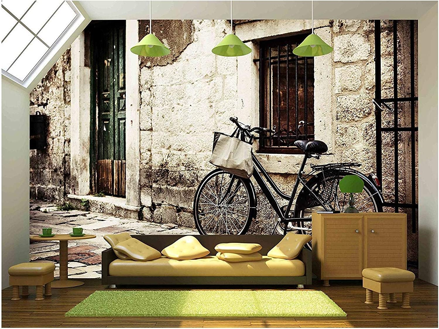 wall26 - Bicycle with a Shopping Bag on Handle Bar, Left Beside Old Stone Wall - Removable Wall Mural | Self-Adhesive Large Wallpaper - 66x96 inches