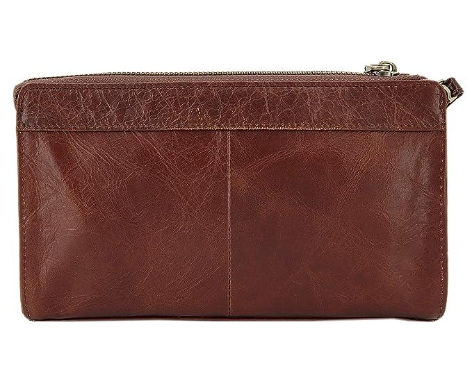 ekavale Bolso de Cuero auténtico con muñequera extraíble para Hombre marrón M