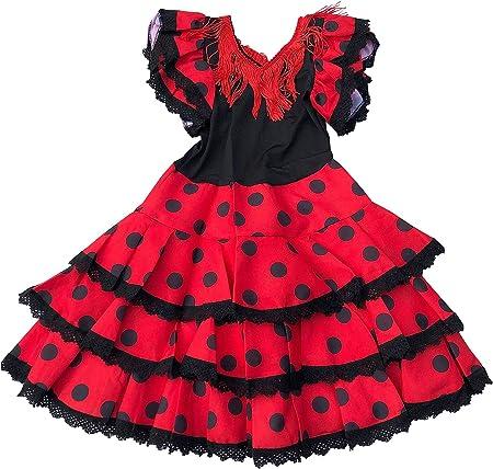 La Senorita Ropa Flamenco Niño Lujo Español Traje de Flamenca chica/niños,100% Poliéster,cóctel