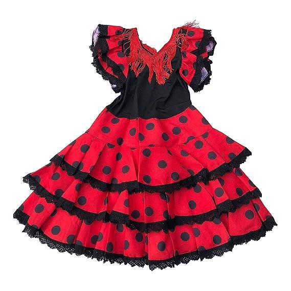La Senorita Ropa Flamenco Niño Lujo Español Traje de Flamenca chica/niños rojo negro