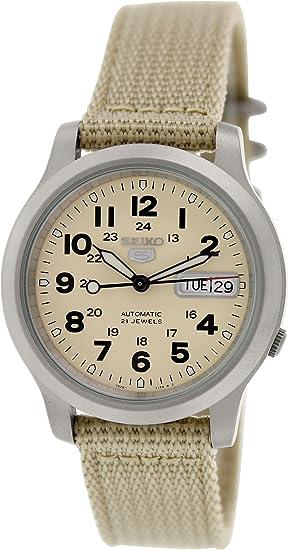 Seiko Reloj Analógico para Hombre de Automático con Correa en Tela SNKN27K1: Amazon.es: Relojes