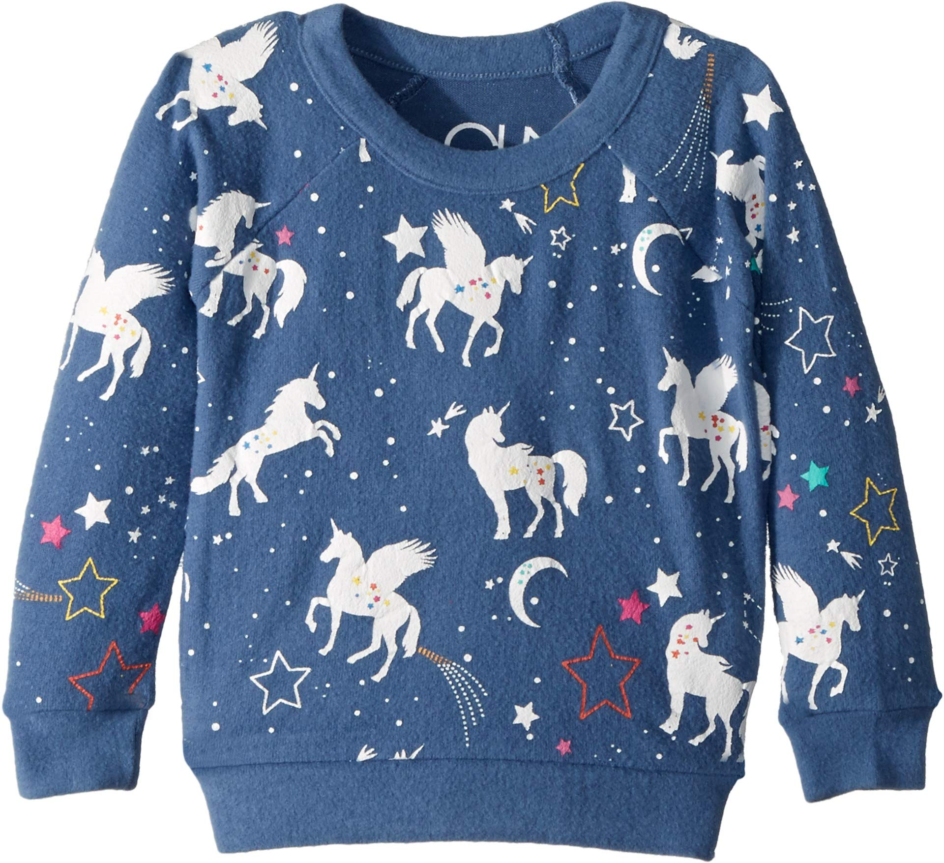 Chaser Kids Baby Girl's Extra Soft Love Knit Unicorn Pullover (Toddler/Little Kids) St. Tropez 6