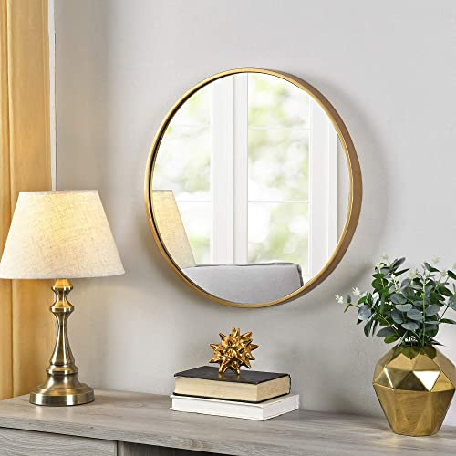 FirsTime Co. Gold Beckham Round Mirror, American Crafted, Gold, 22 x 1.75 x 22 ,