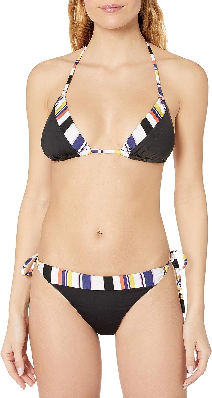 Trina Turk Women's Triangle Halter Hipster Bikini Swimsuit Top Black//Treasure Cove Solids